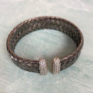 JCM Jacmel Jewelry gunmetal grey woven metal cuff